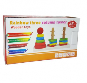 Jocul de sortare din lemn tip Montessori cu 3 coloane [1]
