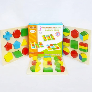 Set 3 Puzzle lemn forme geometrice și fracții [0]