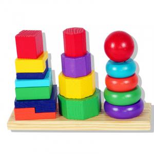 Turn tip Montessori din lemn cu 3 coloane [0]