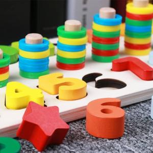 Tablă tip Montessori 3 în 1: Cifre, Forme geometrice și Numărătoare [1]