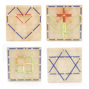 Joc din lemn Montessori Geoboard cu elastice [2]