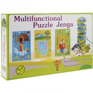 Joc Educativ 2 in 1 din lemn - Jenga si Puzzle [0]