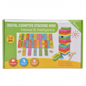 Joc Jenga din lemn multicolor cu cifre și imagini [3]