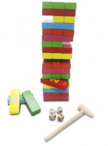 Joc Jenga din lemn multicolor cu cifre și imagini [0]