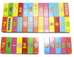 Joc Jenga din lemn multicolor cu cifre și imagini [1]