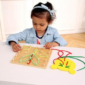 Joc din lemn Montessori Geoboard cu elastice [3]