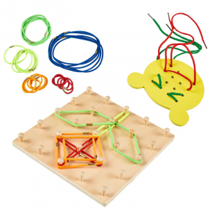 Joc din lemn Montessori Geoboard cu elastice [0]