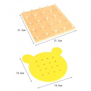Joc din lemn Montessori Geoboard cu elastice [5]