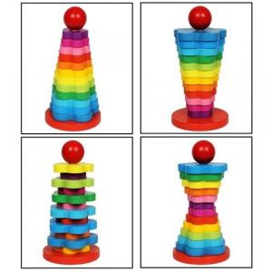 Turn stivuire din lemn tip Montessori 13 piese [3]