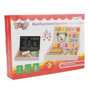 Tabliță educativă din lemn 3 în 1: Cifre&numărare, Ceas și Cretă [1]