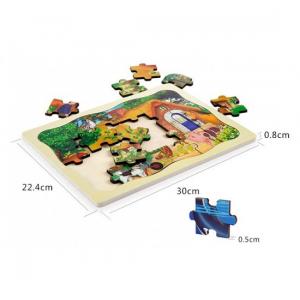 Un puzzle frumos, marca Onshine, cu 24 piese mari. Perfect pentru micile manute, realizat din lemn, cu grafica imprimata printr-o tehnica speciala. Piesele sunt taiate cu precizie laser, astfel ca nu exista aschii, fiind sigure si simplu de manevrat. Piesele sunt mai groase decat tabla astfel ca micutul le poate apuca cu usurinta, avand toate colturile rotunjite si fiind usor de manevrat. Grosime piese aprox: 1, 6 cm Puzzle-urile din lemn tip incastru din lemn au un farmec aparte, fiind o varianta de jucarie din lemn potrivita pentru invatarea primelor notiuni despre jocul puzzle, un joc clasic ce dezvolta gandirea si imaginatia, logica. [1]