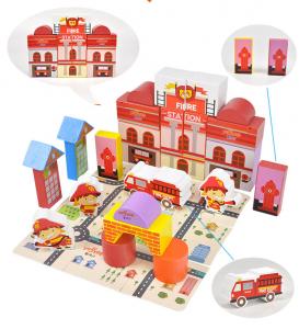 Puzzle și cuburi din lemn - Pompieri [0]