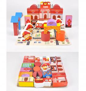 Puzzle și cuburi din lemn - Pompieri [3]