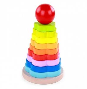 Turnulet stivuire tip Montessori din lemn -Curcubeu [0]