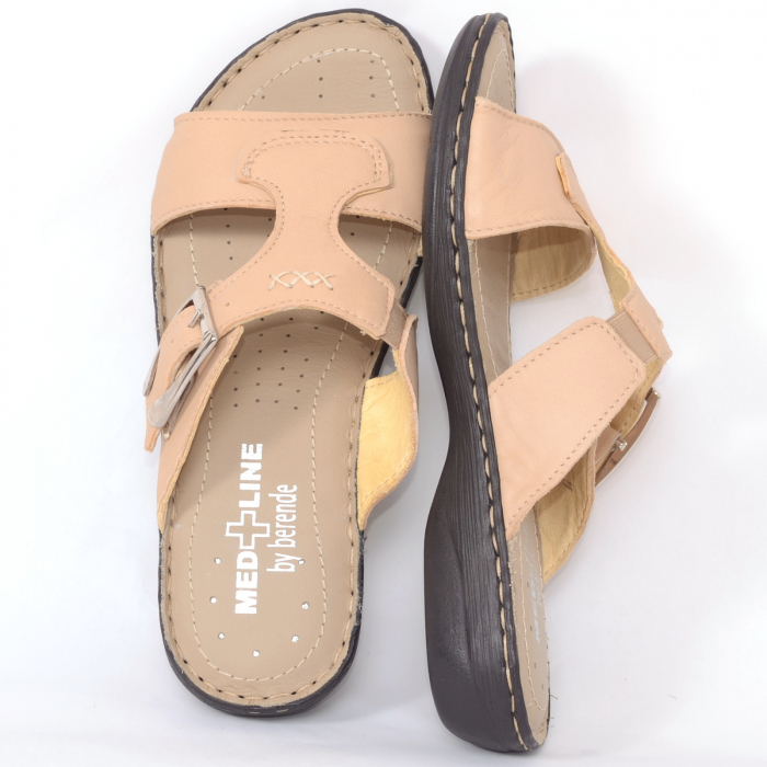 Papuci din piele naturala Medline, 404 Bej [2]