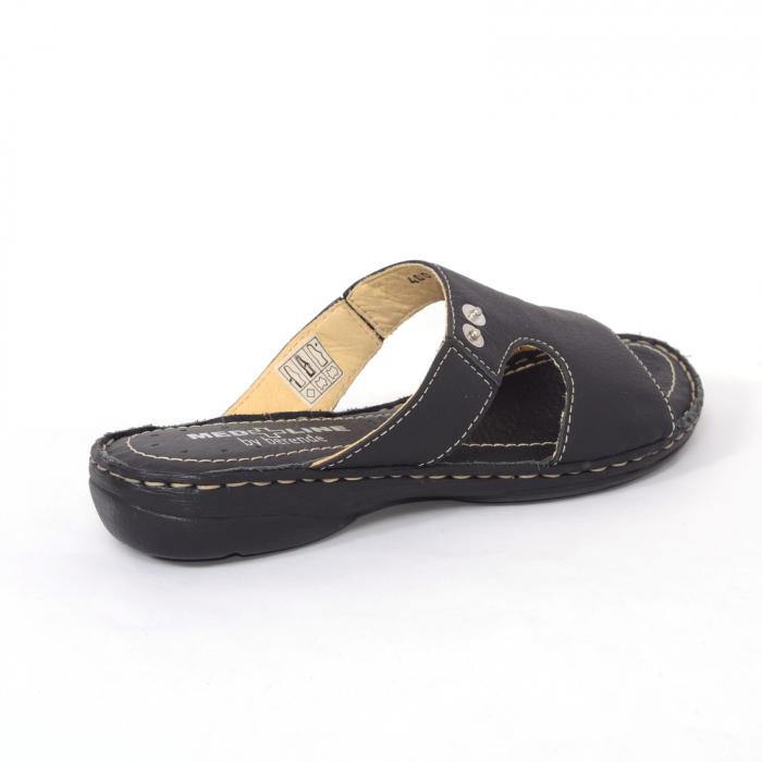 Papuci din piele naturala Medline, 400 Negru [2]