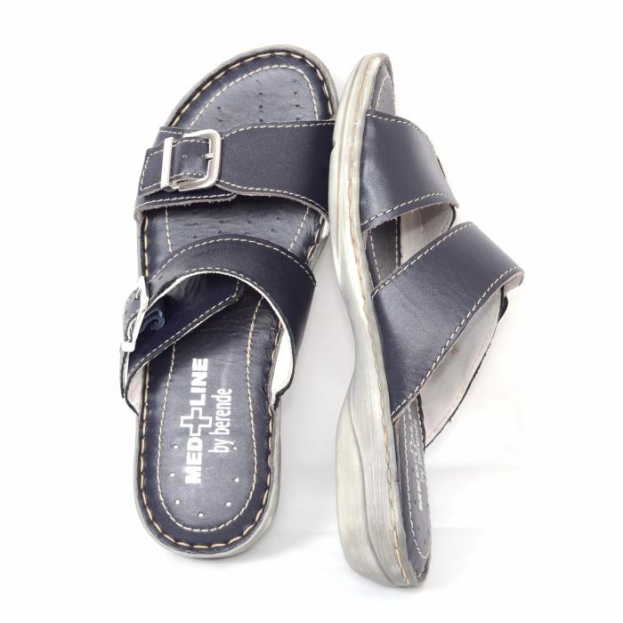 Papuci din piele naturala Medline, 403 Bleumarin [3]