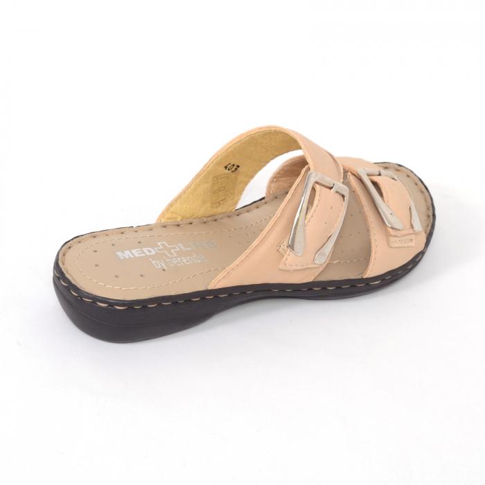 Papuci din piele naturala Medline, 403 Bej [1]