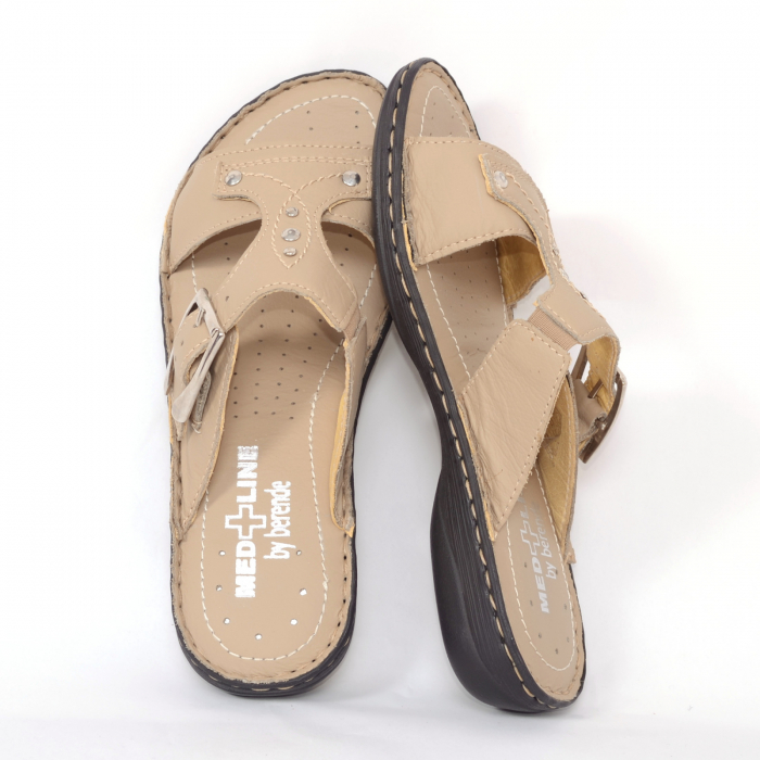 Papuci din piele naturala Medline, 407 Bej [2]