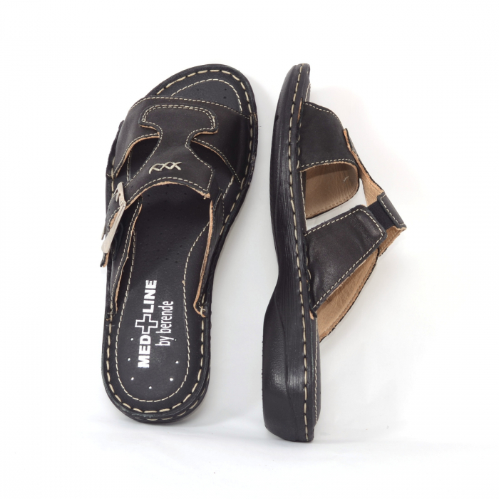 Papuci din piele naturala Medline, 404 Negru [2]