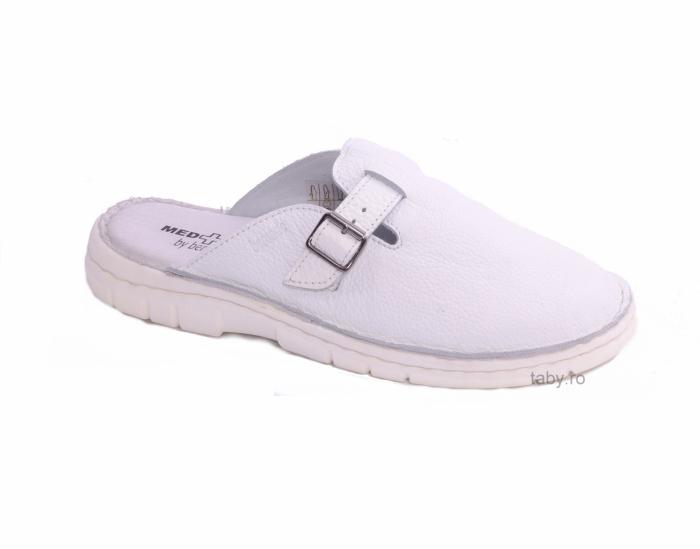 Papuci din piele naturala barbati ,Medline 342 alb neperforat [1]