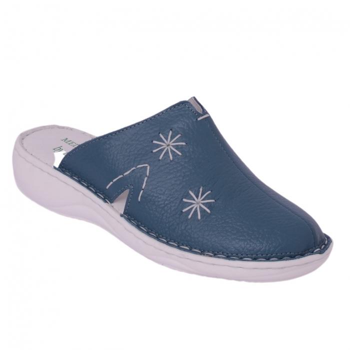 Papuci piele naturala Medline, Petrolio 298 0