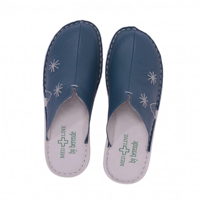 Papuci piele naturala Medline, Petrolio 298 2