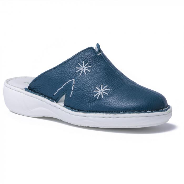 Papuci piele naturala Medline, 298 Verde Inchis 0