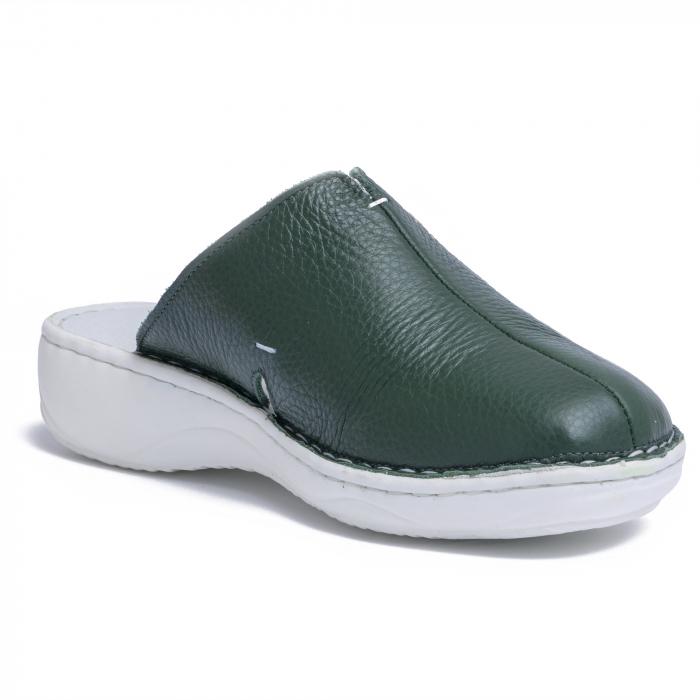 Papuci piele naturala Medline, 298 Verde [3]