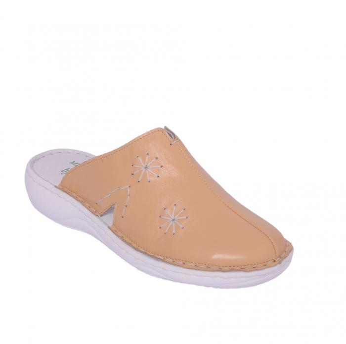Papuci piele naturala Medline, Bej 298 [0]