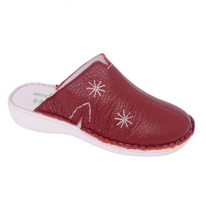 Papuci piele naturala Medline, Visiniu 298 0