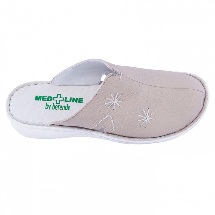 Saboti de piele naturala Medline, Bej 298 1