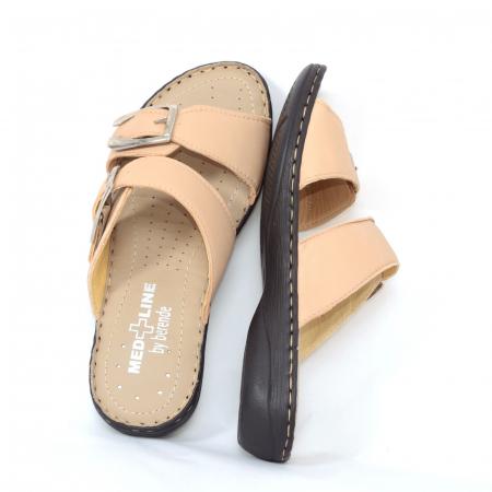 Papuci din piele naturala Medline, 403 Bej [2]