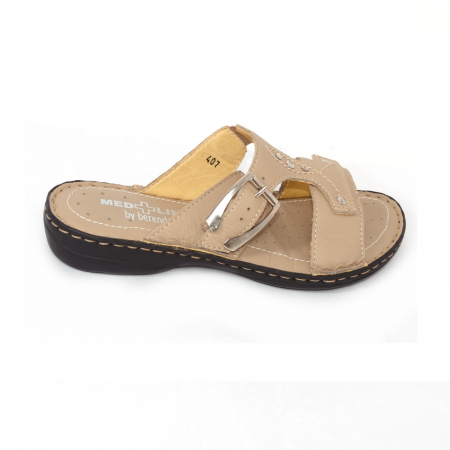 Papuci din piele naturala Medline, 407 Bej [3]