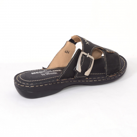 Papuci din piele naturala Medline, 404 Negru [1]