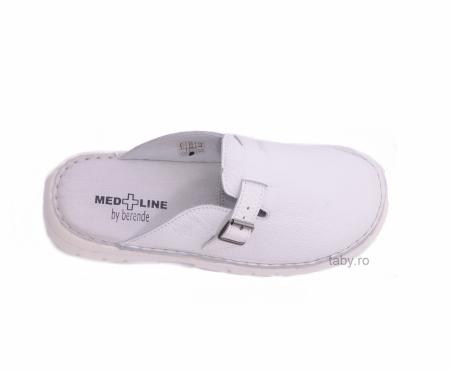 Papuci din piele naturala barbati ,Medline 342 alb neperforat [2]