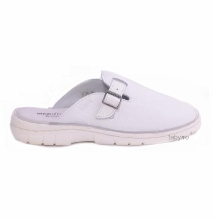 Papuci din piele naturala barbati ,Medline 342 alb neperforat [0]