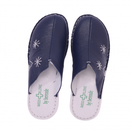 Papuci piele naturala Medline, Blu 298 [2]