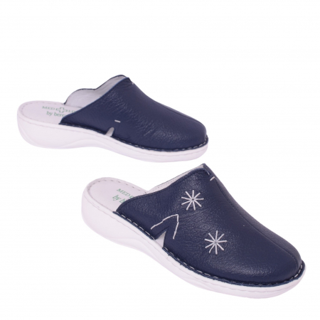 Papuci piele naturala Medline, Blu 298 [1]