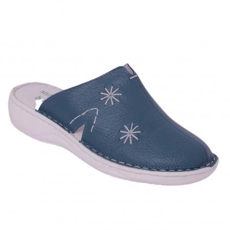 Papuci piele naturala Medline, Petrolio 2980
