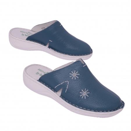 Papuci piele naturala Medline, Petrolio 2981