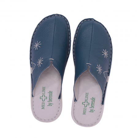 Papuci piele naturala Medline, Petrolio 2982