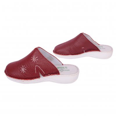 Papuci medicinali de piele naturala Medline, Visiniu 2982