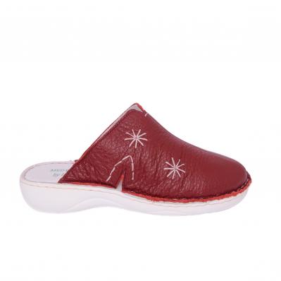 Papuci medicinali de piele naturala Medline, Visiniu 2981