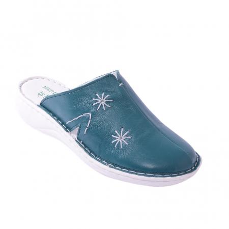 Papuci piele naturala Medline, 298 Smarald [0]