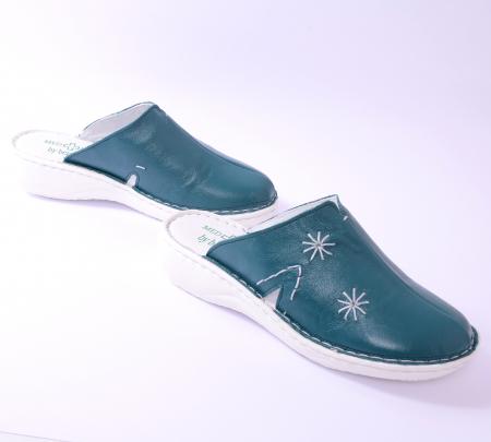 Papuci piele naturala Medline, 298 Smarald [1]