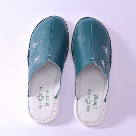 Papuci piele naturala Medline, 298 Smarald [2]