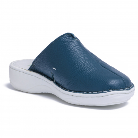Papuci piele naturala Medline, 298 Verde Inchis3