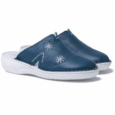 Papuci piele naturala Medline, 298 Verde Inchis1