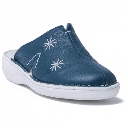 Papuci piele naturala Medline, 298 Verde Inchis2